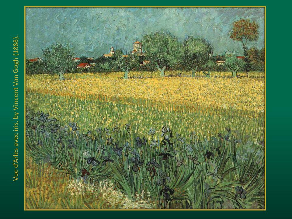 Vue d'Arles avec iris, by Vincent Van Gogh (1888).