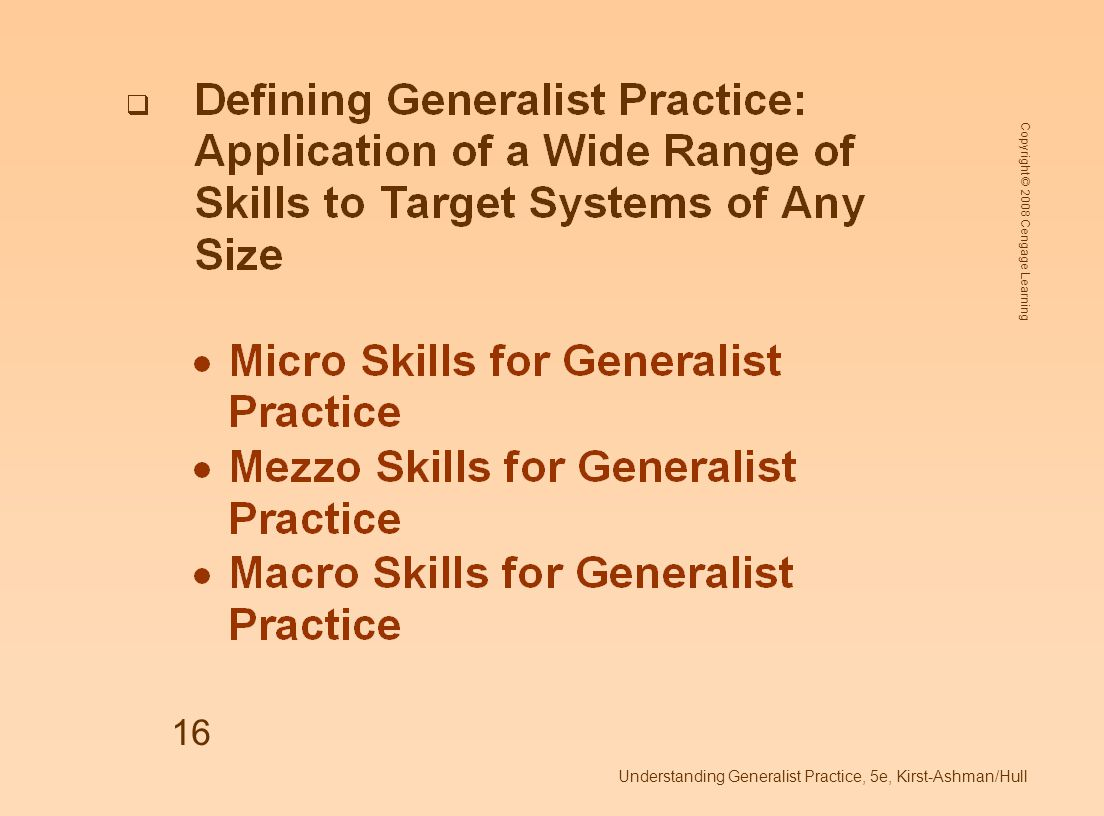 Copyright © 2008 Cengage Learning Understanding Generalist Practice, 5e, Kirst-Ashman/Hull 16