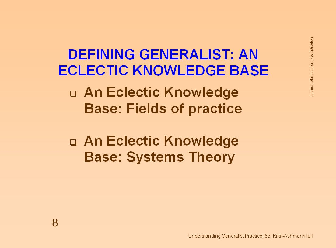Copyright © 2008 Cengage Learning Understanding Generalist Practice, 5e, Kirst-Ashman/Hull 29