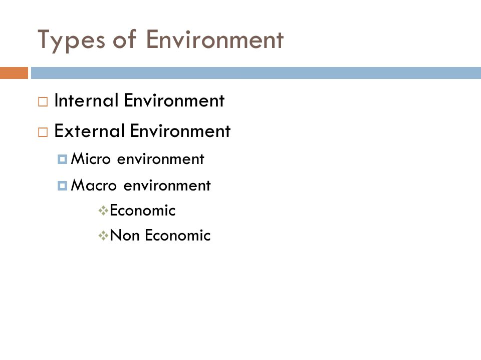 Types of Environment  Internal Environment  External Environment  Micro environment  Macro environment  Economic  Non Economic
