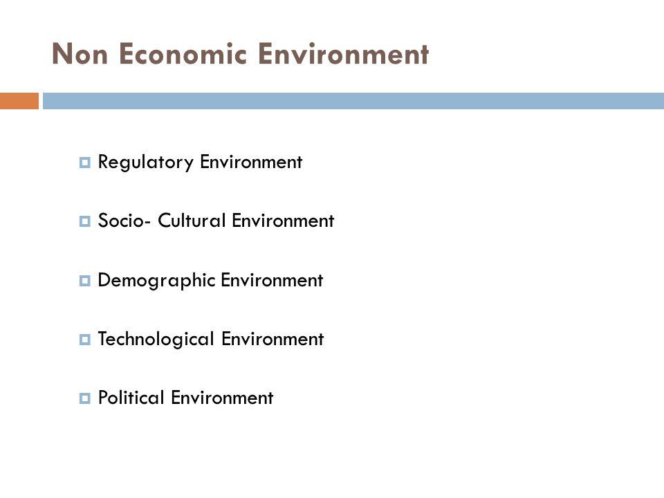 Non Economic Environment  Regulatory Environment  Socio- Cultural Environment  Demographic Environment  Technological Environment  Political Environment