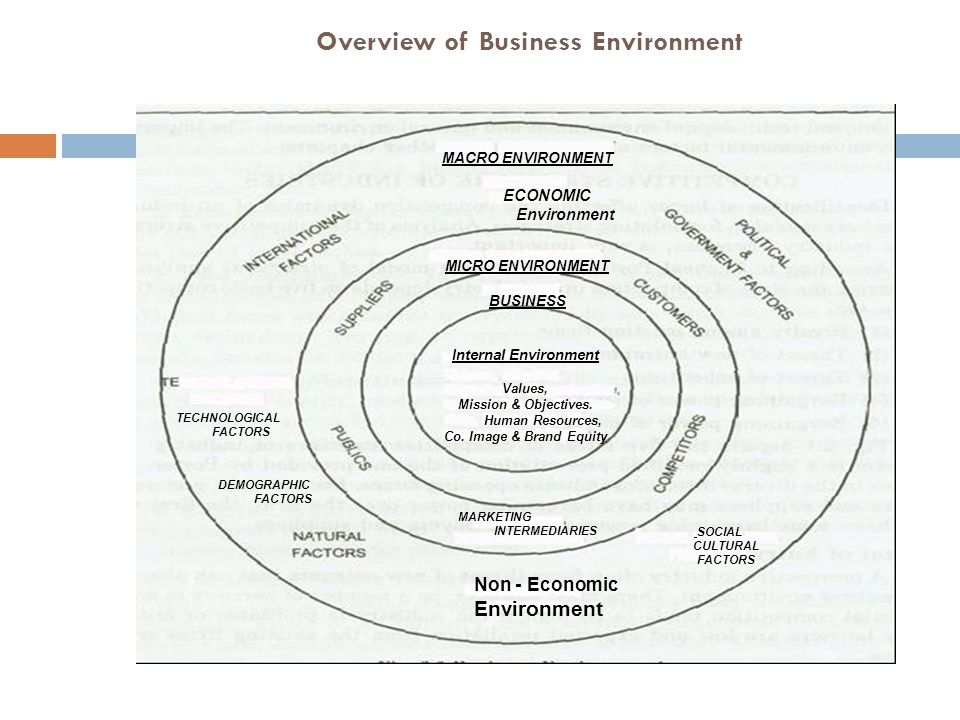 Overview of Business Environment MACRO ENVIRONMENT ECONOMIC Environment MICRO ENVIRONMENT BUSINESS Internal Environment Values, Mission & Objectives.