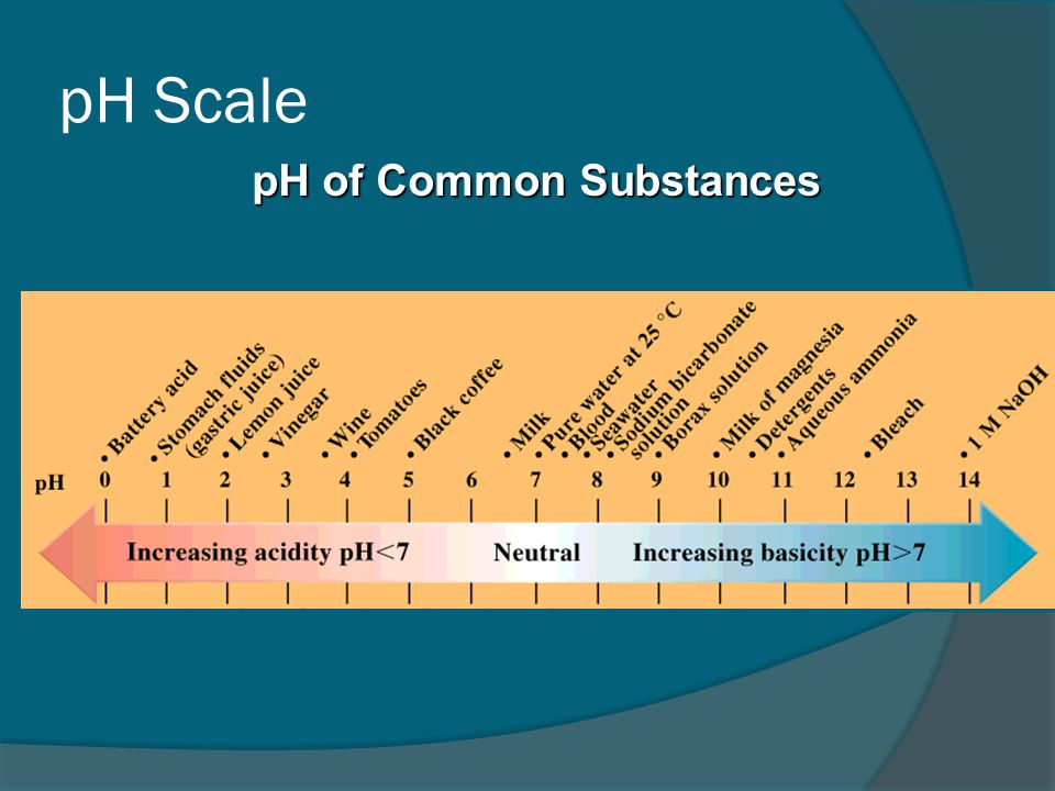 pH Scale pH of Common Substances