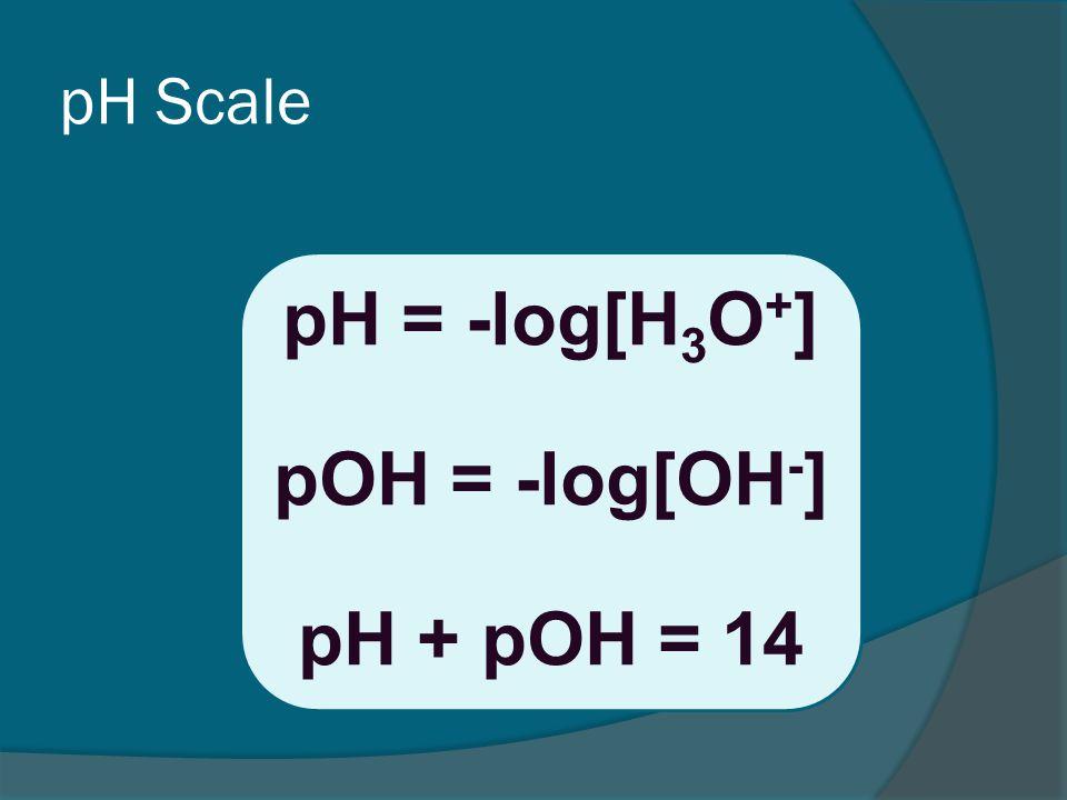 pH Scale pH = -log[H 3 O + ] pOH = -log[OH - ] pH + pOH = 14