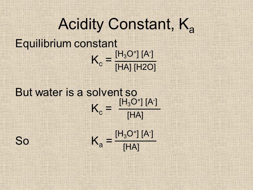 Weak acid pH Because So K a = Rearrange and pH = -log[H 3 O + ] Now try Qs 1 & 2 pg 253 study guide [H 3 O + ] = [A - ] [H 3 O + ] 2 [HA] [H 3 O + ]=K a x [HA]