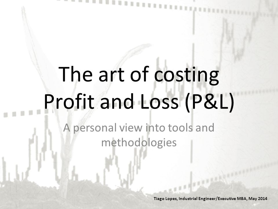 The art of costing Profit and Loss (P&L) Tiago Lopes, Industrial Engineer/Executive MBA, May 2014 A personal view into tools and methodologies