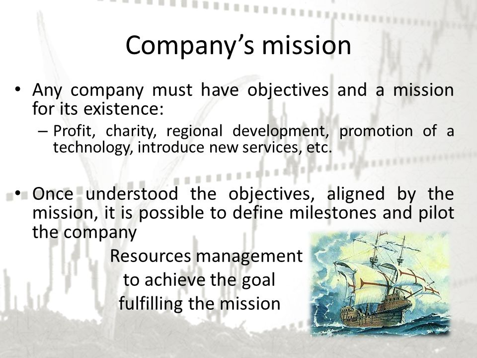 Company's mission Any company must have objectives and a mission for its existence: – Profit, charity, regional development, promotion of a technology, introduce new services, etc.