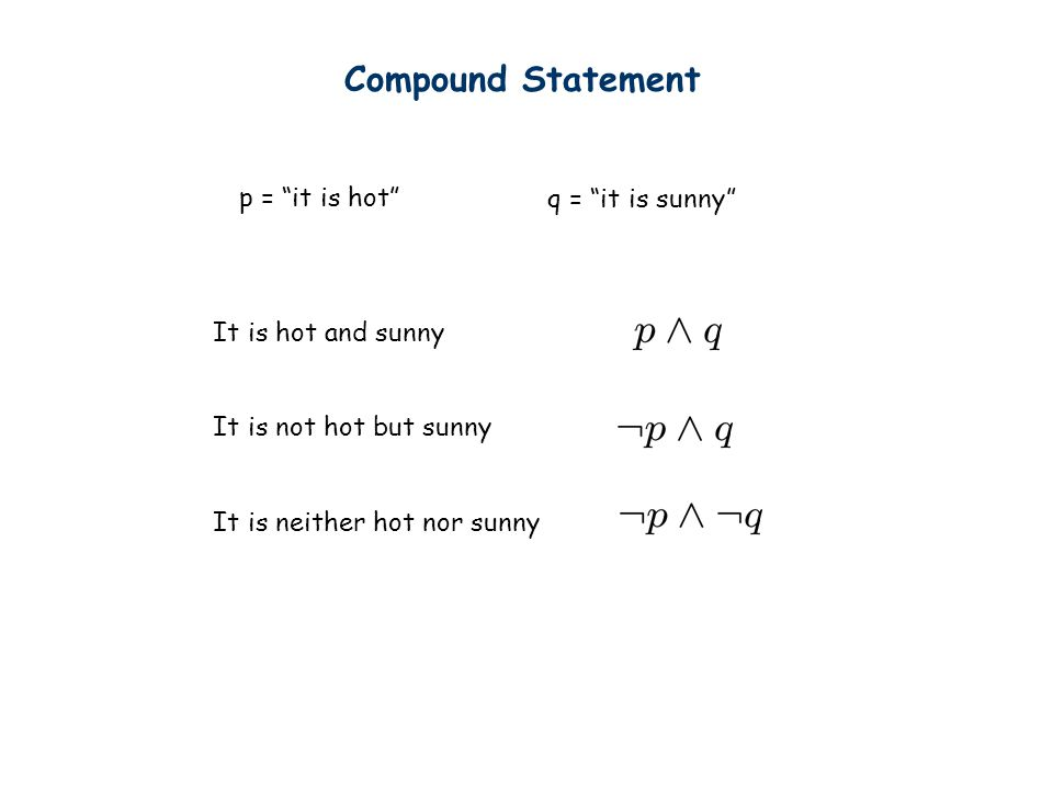 "Compound Statement p = ""it is hot"" q = ""it is sunny"" It is hot and sunny It is not hot but sunny It is neither hot nor sunny"
