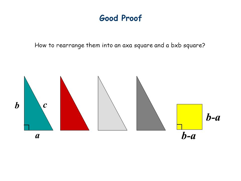 b a a a b-ab-a 74 proofs in http://www.cut-the-knot.org/pythagoras/index.shtml b Good Proof b