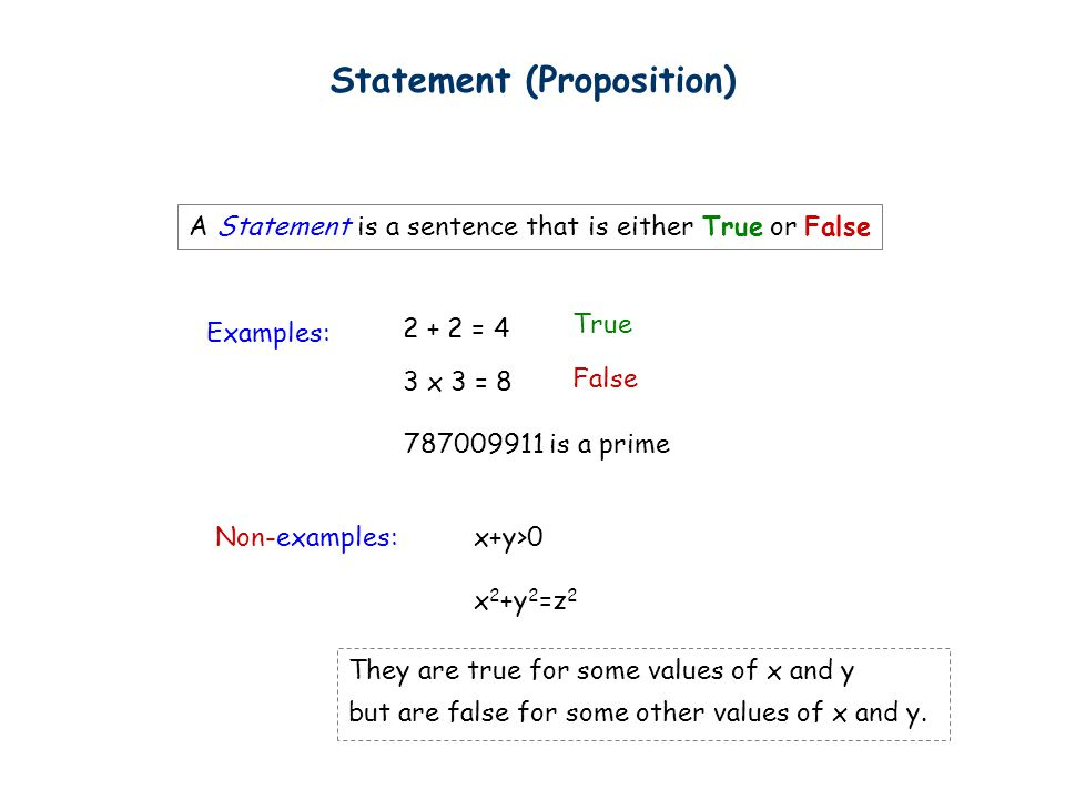 Statement (Proposition) A Statement is a sentence that is either True or False Examples: Non-examples:x+y>0 x 2 +y 2 =z 2 True False 2 + 2 = 4 3 x 3 =