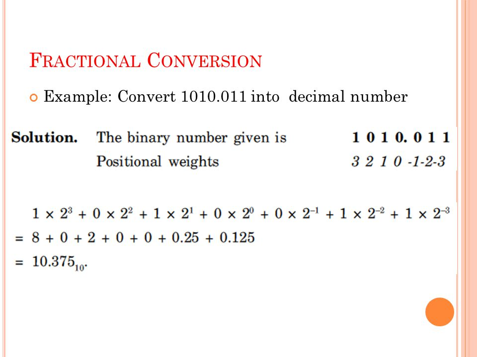 F RACTIONAL C ONVERSION Example: Convert 1010.011 into decimal number