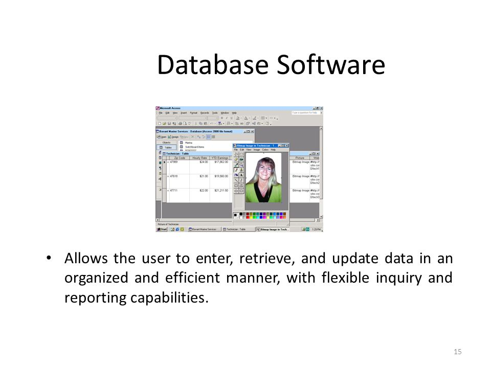 Database Software Allows the user to enter, retrieve, and update data in an organized and efficient manner, with flexible inquiry and reporting capabi