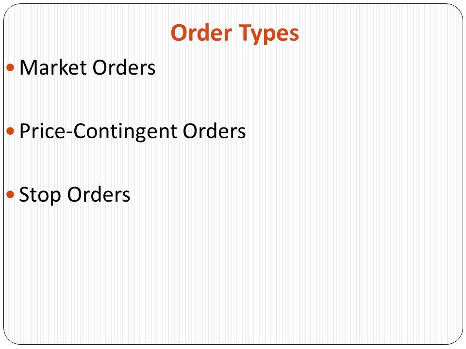 Order Types Market Orders Price-Contingent Orders Stop Orders