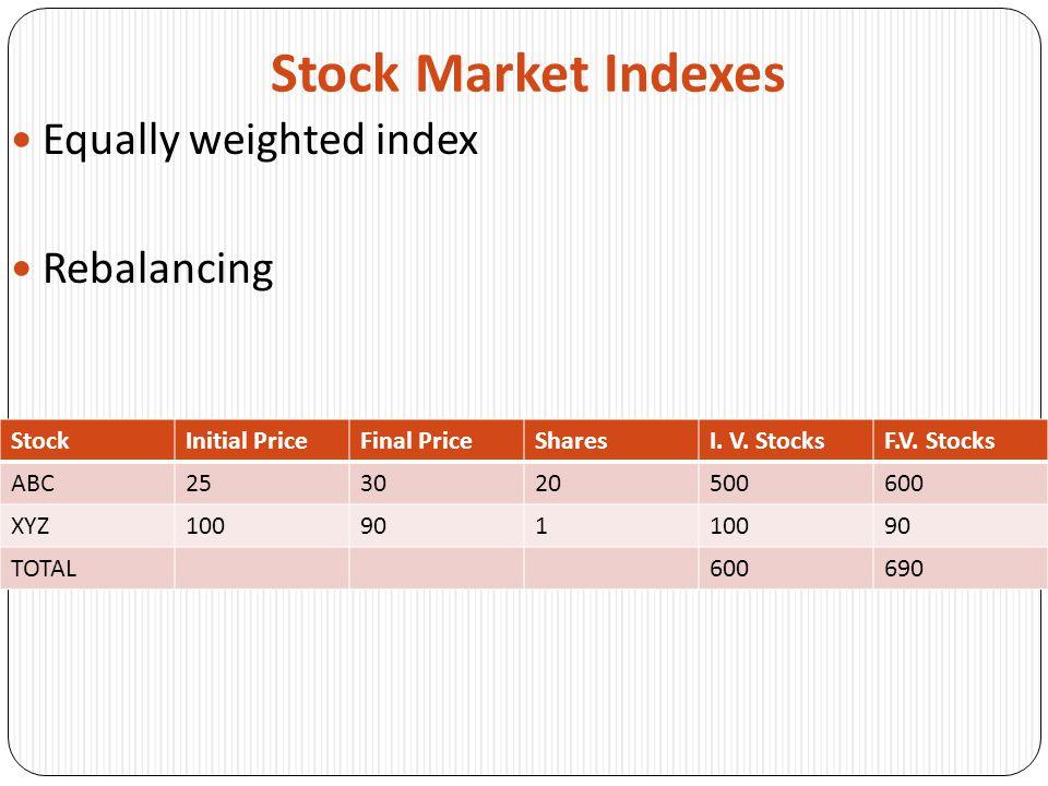 Stock Market Indexes Equally weighted index Rebalancing StockInitial PriceFinal PriceSharesI. V. StocksF.V. Stocks ABC253020500600 XYZ10090110090 TOTA