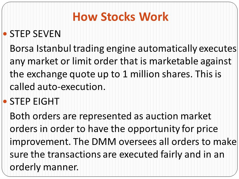 How Stocks Work STEP NINE After the transaction is executed, notices are sent to the firms originating the orders and to the consolidated tape so that a written record is made of every transaction.