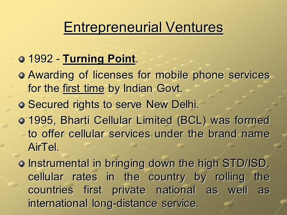 Entrepreneurial Ventures 1992 - Turning Point.