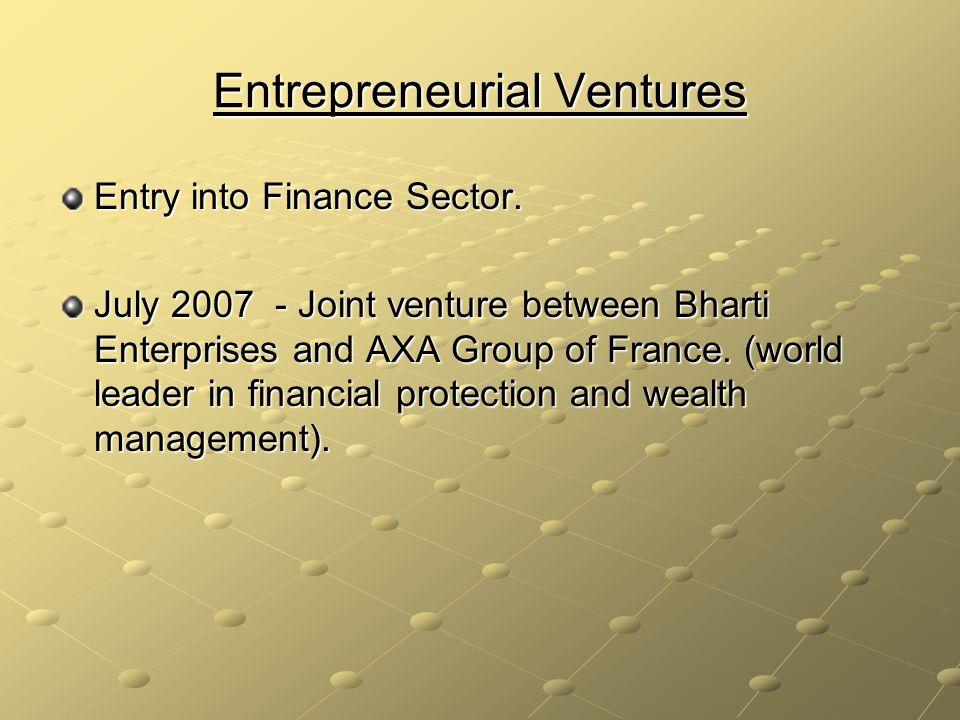 Entrepreneurial Ventures Entry into Finance Sector.