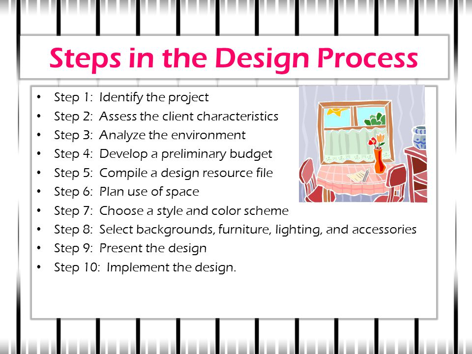 Steps in the Design Process Step 1: Identify the project Step 2: Assess the client characteristics Step 3: Analyze the environment Step 4: Develop a preliminary budget Step 5: Compile a design resource file Step 6: Plan use of space Step 7: Choose a style and color scheme Step 8: Select backgrounds, furniture, lighting, and accessories Step 9: Present the design Step 10: Implement the design.