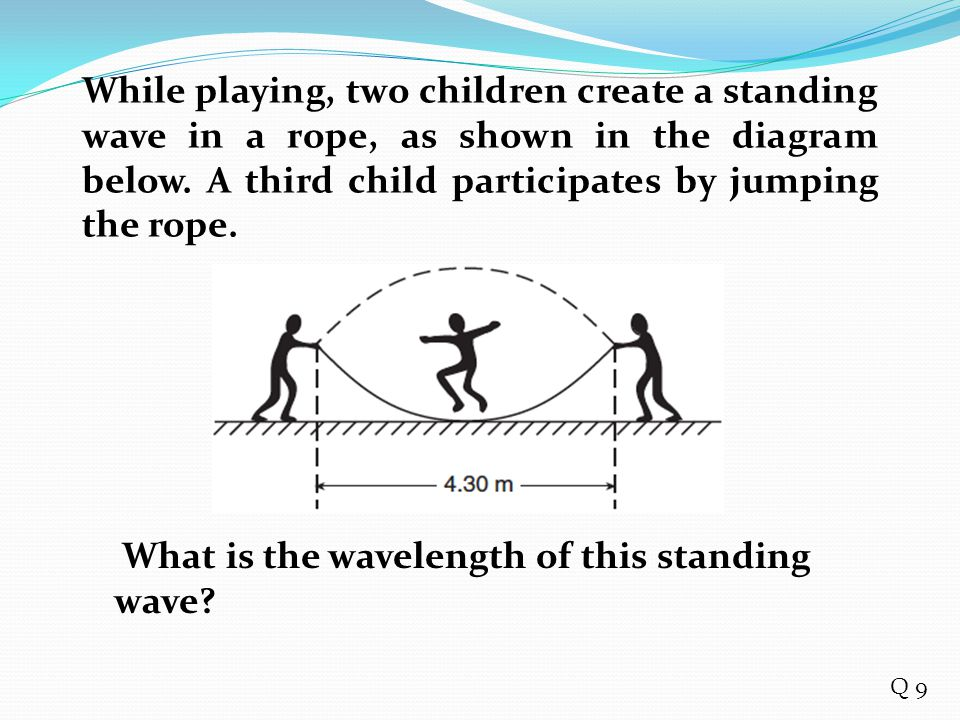 While playing, two children create a standing wave in a rope, as shown in the diagram below. A third child participates by jumping the rope. What is t
