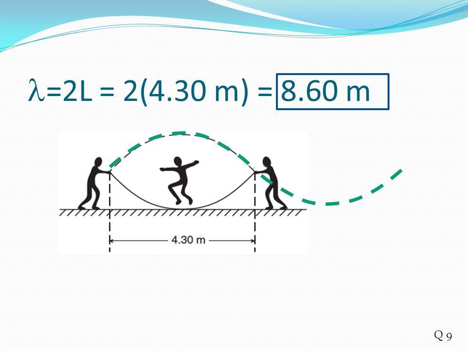 =2L = 2(4.30 m) = 8.60 m Q 9