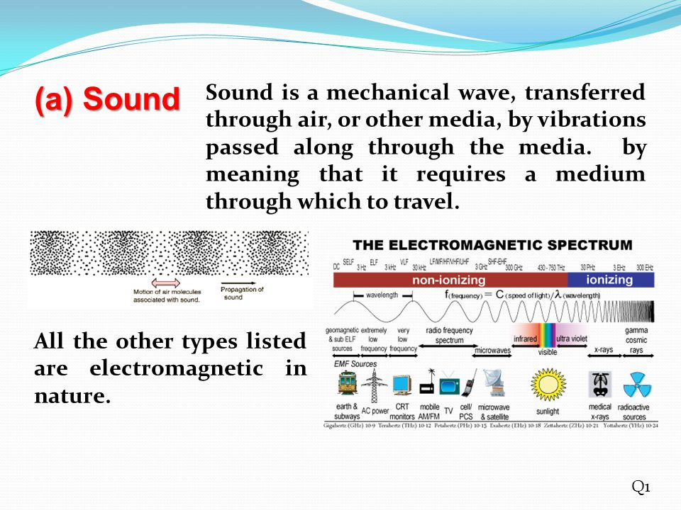 (a) Sound Sound is a mechanical wave, transferred through air, or other media, by vibrations passed along through the media. by meaning that it requir
