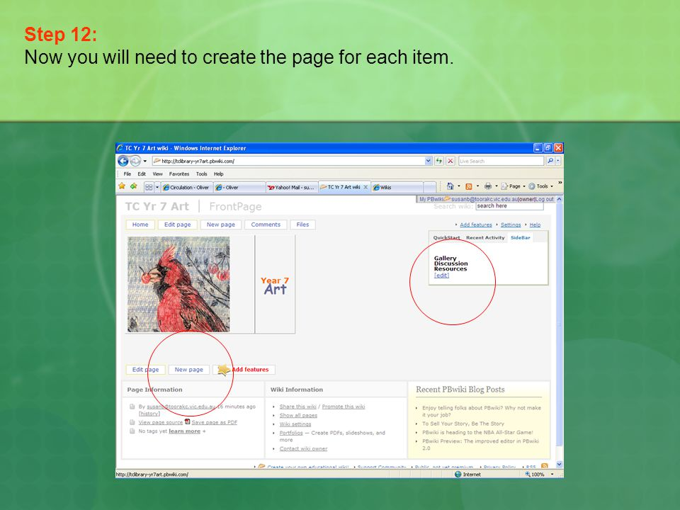 Step 12: Now you will need to create the page for each item.