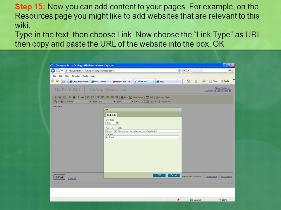 Step 15: Now you can add content to your pages.