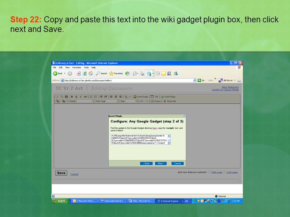 Step 22: Copy and paste this text into the wiki gadget plugin box, then click next and Save.