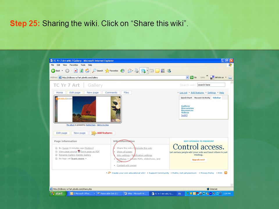 Step 25: Sharing the wiki. Click on Share this wiki .