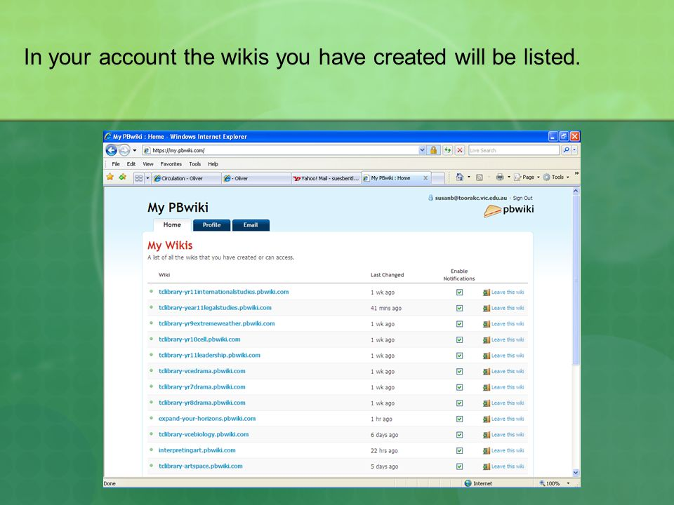 In your account the wikis you have created will be listed.