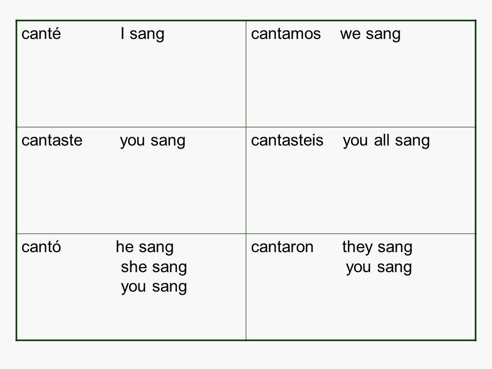 canté I sangcantamos we sang cantaste you sangcantasteis you all sang cantó he sang she sang you sang cantaron they sang you sang