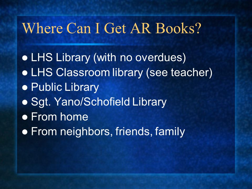 Where Can I Get AR Books.