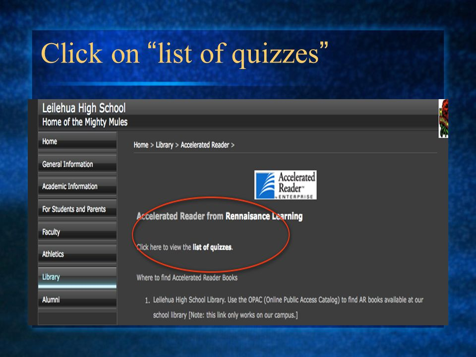 Click on list of quizzes