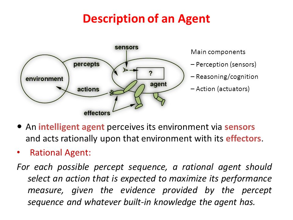 Possible Properties autonomous – Agents are autonomous – they act on behalf of the user Agents can adapt to changes in the environment Agents not only act reactively, but sometimes also proactively Agents have social ability – they communicate with the user, the system, and other agents as required Agents also cooperate with other agents to carry out more complex tasks than they themselves can handle Agents migrate from one system to another to access remote resources or even to meet other agents