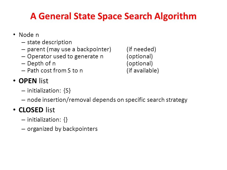 State-space search is the process of searching through a state space for a solution by making explicit a sufficient portion of an implicit state-space
