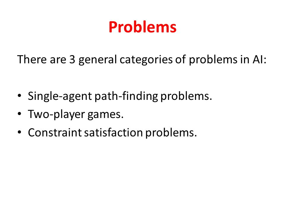 To Solve a Problem: 1.Define the problem precisely. 2.Analyze the problem. 3.Isolate and represent the task knowledge. 4.Choose the best problem-solvi