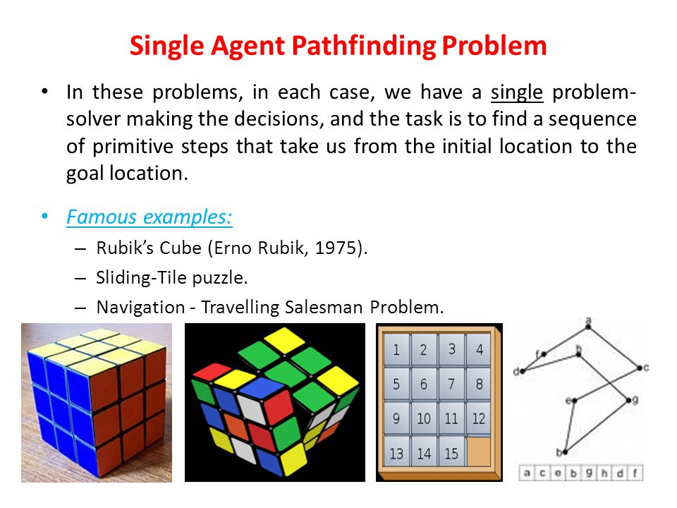 Problems There are 3 general categories of problems in AI: Single-agent path-finding problems. Two-player games. Constraint satisfaction problems.
