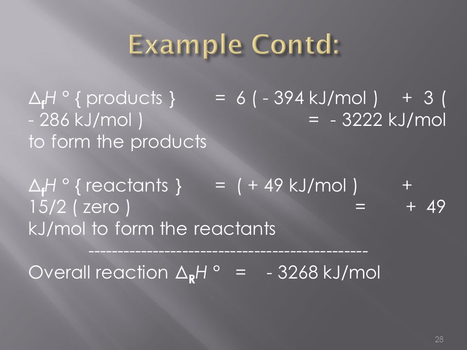 28 Δ f H ° { products }= 6 ( - 394 kJ/mol )+ 3 ( - 286 kJ/mol )= - 3222 kJ/mol to form the products Δ f H ° { reactants } = ( + 49 kJ/mol )+ 15/2 ( ze