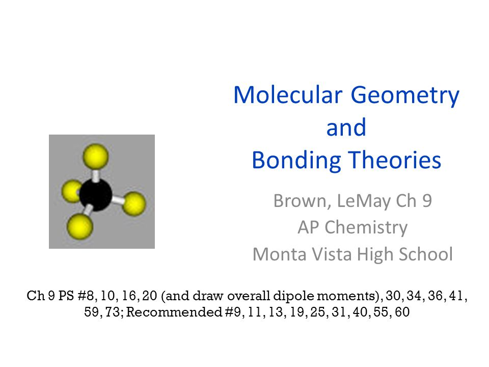 sp 3 d hybrid orbitals (or dsp 3 ) PCl 5 (g): observed as trigonal bipyramidal; forms 5 bonds of equal energy (* but not equal length: equatorial are slightly longer) 3d 3p 3s One s + three p + one d → Five sp 3 d orbitals (to bond with 5 Cl's) A central atom with exactly 5 e- domains has sp 3 d hybrid orbitals.