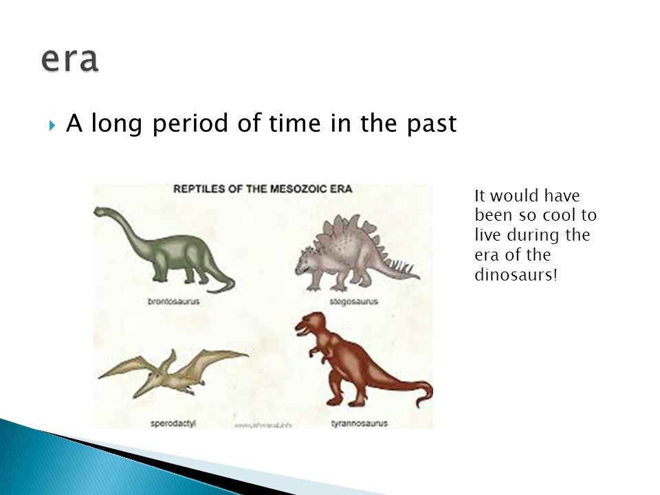  A long period of time in the past It would have been so cool to live during the era of the dinosaurs!