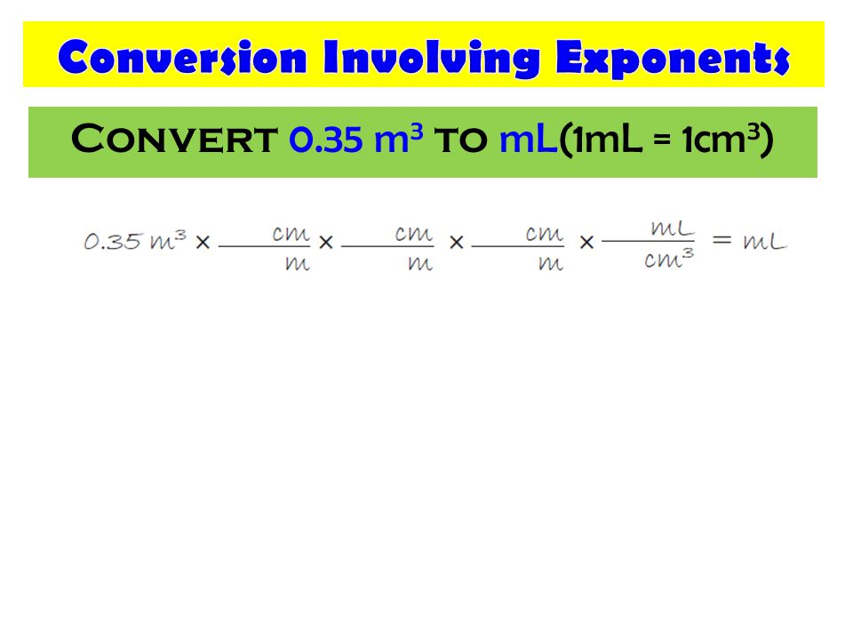 Convert 0.35 m 3 to mL(1mL = 1cm 3 )