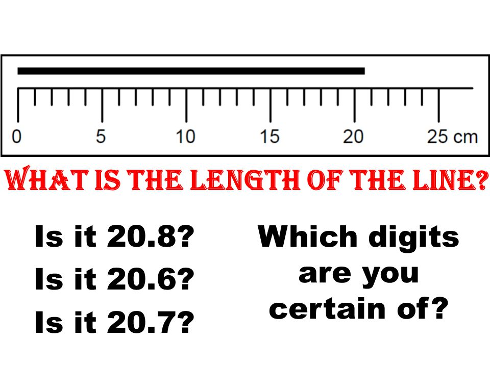 What is the length of the line? Is it 20.8? Is it 20.6? Is it 20.7? Which digits are you certain of?