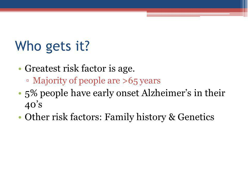 Who gets it. Greatest risk factor is age.