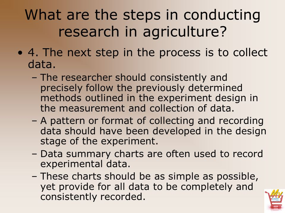 What are the steps in conducting research in agriculture? 4. The next step in the process is to collect data. –The researcher should consistently and