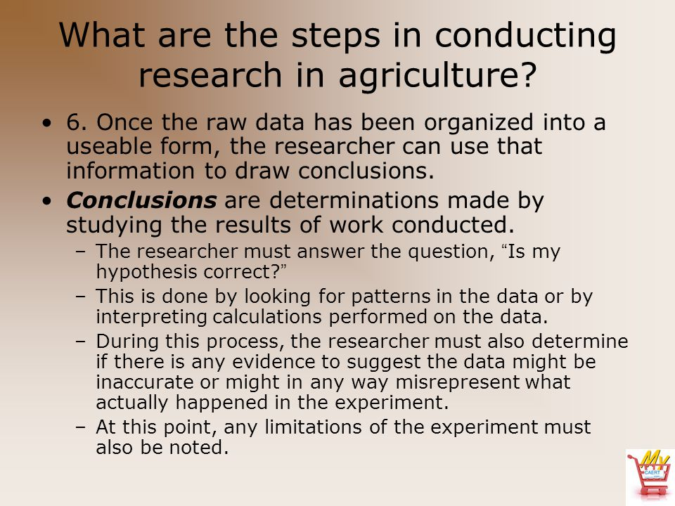 What are the steps in conducting research in agriculture? 6. Once the raw data has been organized into a useable form, the researcher can use that inf