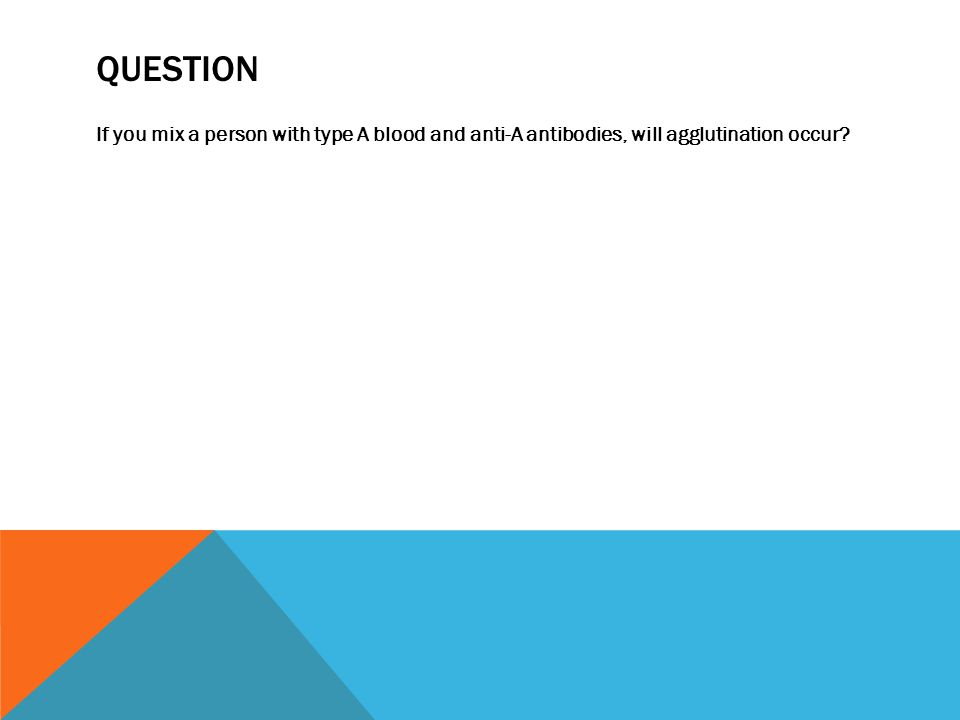 QUESTION If you mix a person with type A blood and anti-A antibodies, will agglutination occur