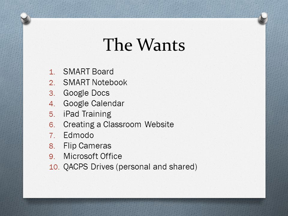 The Wants 1. SMART Board 2. SMART Notebook 3. Google Docs 4.