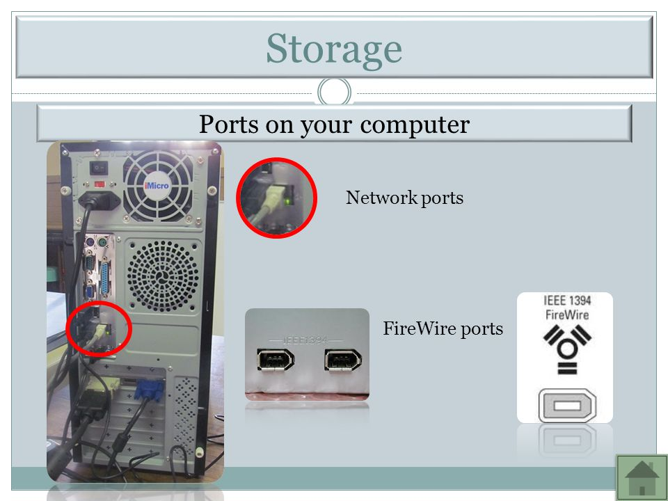 Ports on your computer Network ports FireWire ports Storage