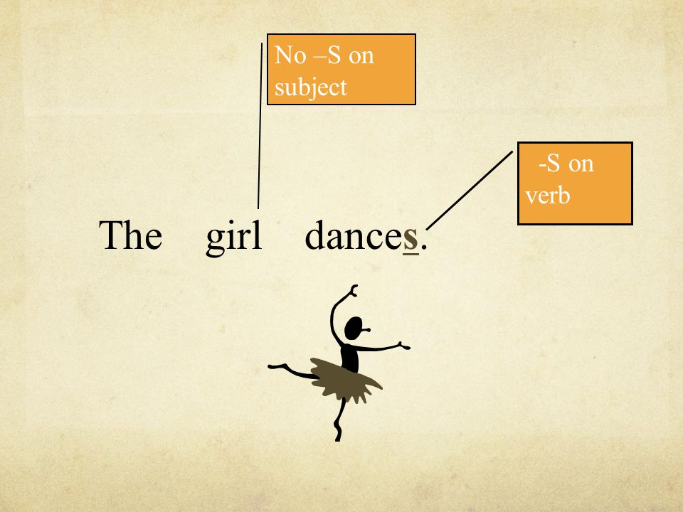 The girl dances. No –S on subject -S on verb