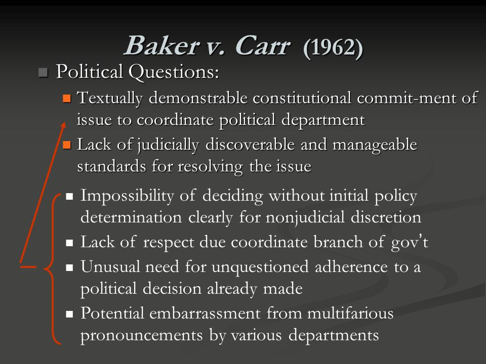 Baker v. Carr (1962) Political Questions: Political Questions: Textually demonstrable constitutional commit-ment of issue to coordinate political depa